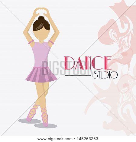 girl cartoon avatar dancer dance studio academy advertising icon. Colorful design. Splash background. Vector illustration