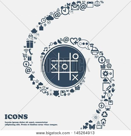 Tic Tac Toe Game Vector Icon In The Center. Around The Many Beautiful Symbols Twisted In A Spiral. Y