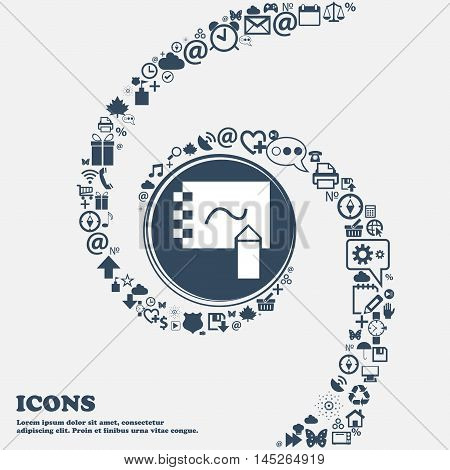 Notebook Icon In The Center. Around The Many Beautiful Symbols Twisted In A Spiral. You Can Use Each