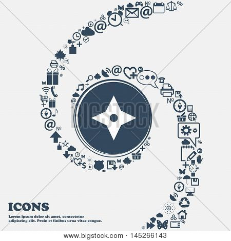 Ninja Star, Shurikens Icon In The Center. Around The Many Beautiful Symbols Twisted In A Spiral. You