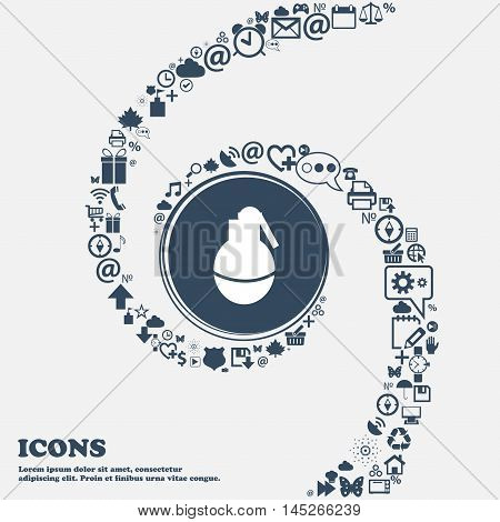 Hand Grenade Icon In The Center. Around The Many Beautiful Symbols Twisted In A Spiral. You Can Use
