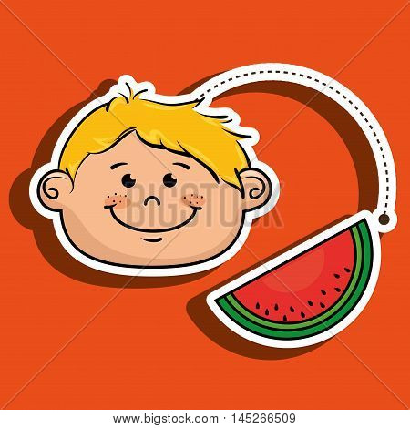 boy vegetable food health vector illustration graphic