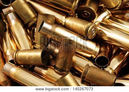 Empty, used, assorted, spent brass bullet casings
