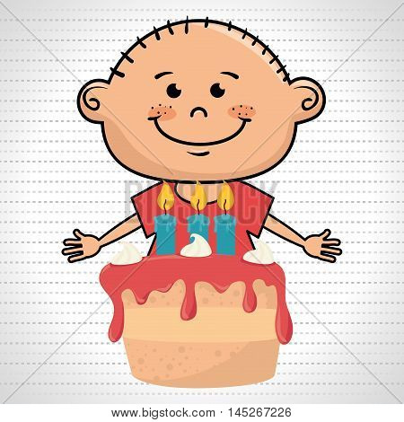 boy cake candles dessert vector illustratio graphic