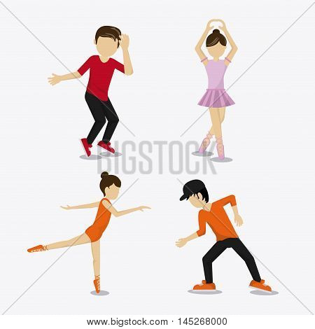 girl boy cartoon avatar dancer dance studio academy advertising icon. Colorful design. Vector illustration