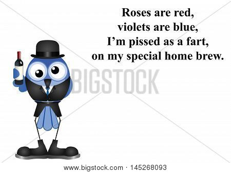 Comical drunk on home brew wine poem on white background with copy space for own text
