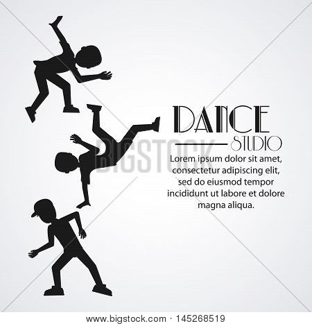 boys cartoons avatar dancer dance studio academy advertising icon. Silhouette black and white design. Vector illustration