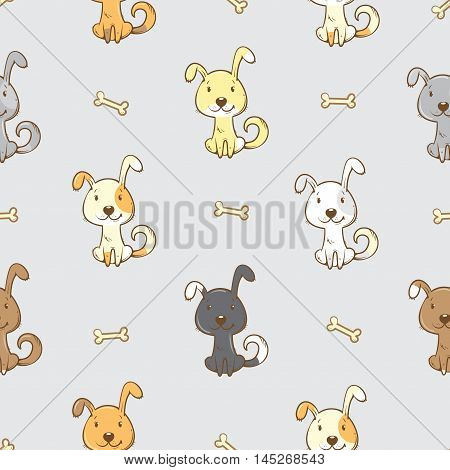 Seamless pattern with cute cartoon dogs  on  gray  background. Little puppies and bones. Children's illustration. Vector image. Funny animals.