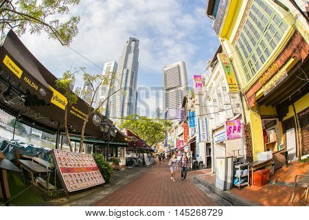 SINGAPORE-JUN 26 2015: View of colorful business building Pub and restaurant in Little India and chinese style Singapore on June 26 2015