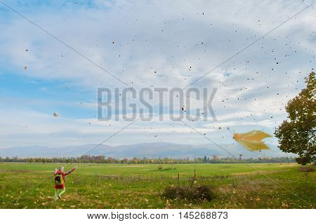 Landscape with the leaf fall. woman is on the foreground and Balkans mountine are on the background. Bulgaria Sofia.