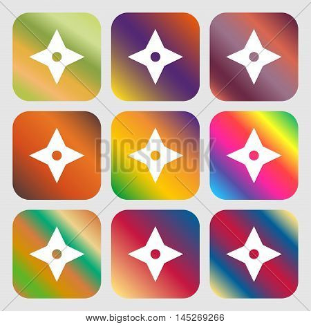 Ninja Star, Shurikens Icon . Nine Buttons With Bright Gradients For Beautiful Design. Vector