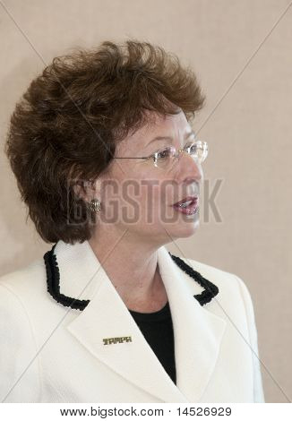 January 13th, 2011 Tampa, Florida Mayor Pam Iorio. Political mover and shaker, and is thought to be eyeing a state political office in the future. Photo taken in the Tampa Bay Convention Center, while she was addressing a civic group function.