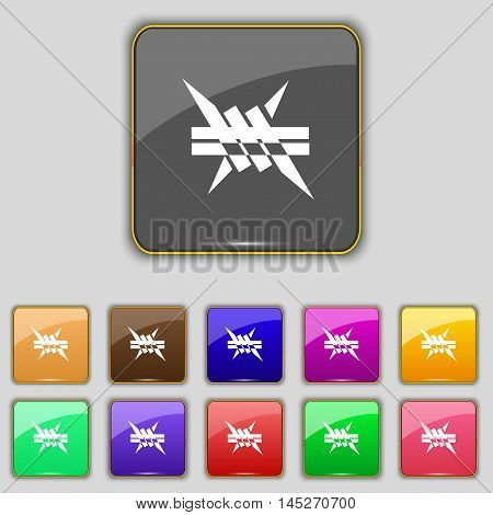 Barbed Wire Icon. Sign. Set With Eleven Colored Buttons For Your Site. Vector