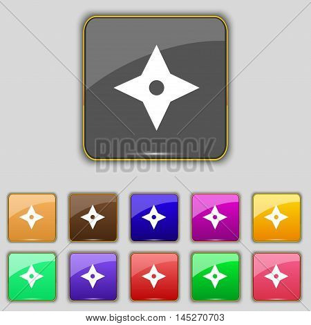 Ninja Star, Shurikens Icon Sign. Set With Eleven Colored Buttons For Your Site. Vector