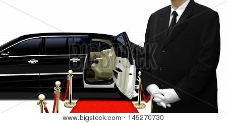 limousine chauffeur standing by the car over white