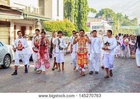 PHUKET THAILAND - SEPTEMBER 28: Phuket Vegetarian Festival in Phuket Town Phuket Thailand on the 28th September 2014