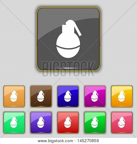 Hand Grenade Icon Sign. Set With Eleven Colored Buttons For Your Site. Vector