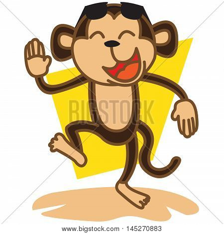 Happy monkey party illustration vector art for Tshirt