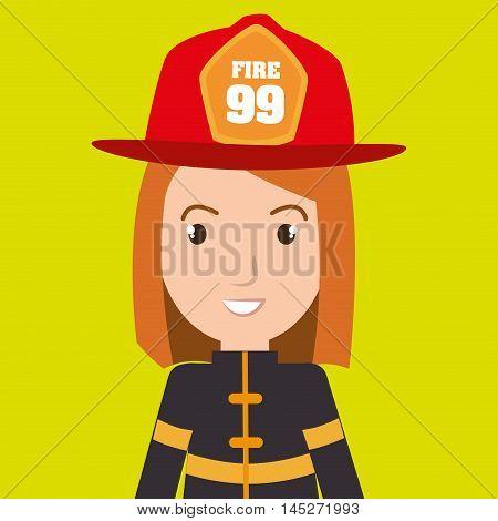 woman fire helmet mask vector illustration graphic
