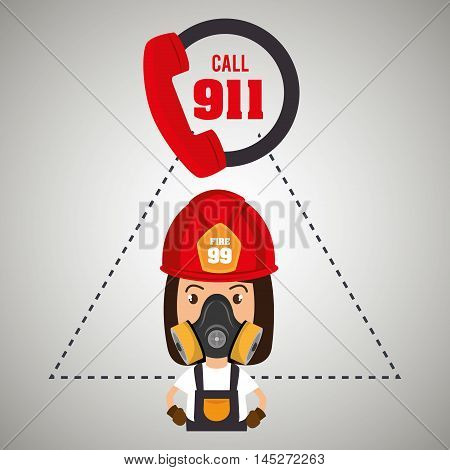 woman firefighter mask helmet vector illustration graphic
