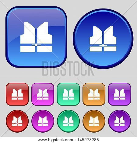 Working Vest Icon Sign. A Set Of Twelve Vintage Buttons For Your Design. Vector