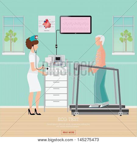 ECG Test or Exercise Stress Test for Heart Disease on treadmill cardiology center room interior with blood pressure monitor healthy and medical flat design vector illustration.