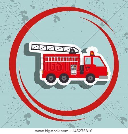 truck fireman rescue fire vector illustration graphic