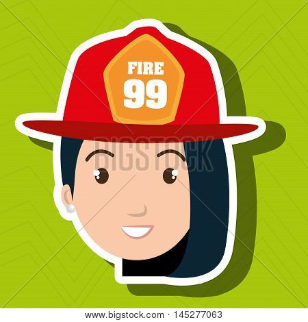 woman firewoman helmet icon vector illustration graphic