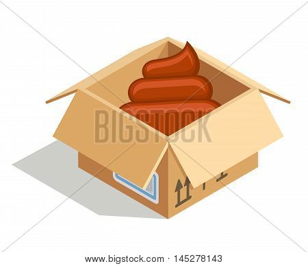 Poo delivered in a cardboard box isolated over white. Vector illustration