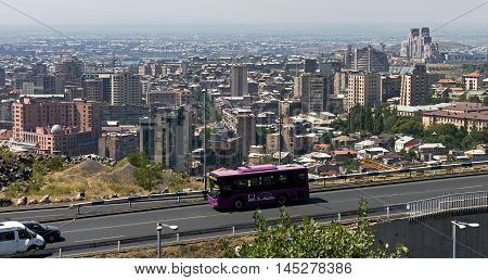 YEREVAN, ARMENIA - AUGUST 22, 2016:One of the central streets of Yerevan the capital and largest in terms of population and area of the city of Armenia, one of the oldest cities in the world.