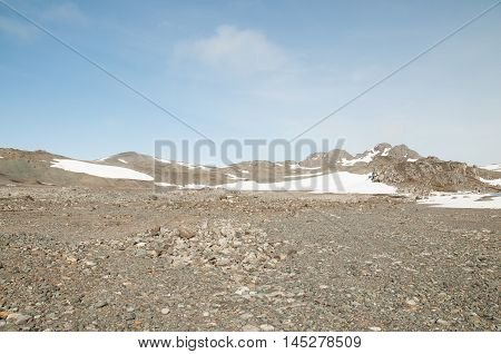 Landscape of small rock and snow mountain at Antarctica, South pole