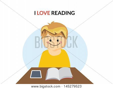 Happy Boy reading in table as well as book. I love reading text