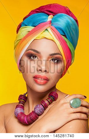Gorgeous Afro American Ethnic Girl With Turban On Her Head