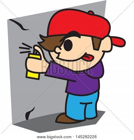 Cartoon bad boy Isolated on white vector illustration