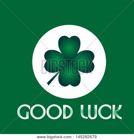 Good luck clover green four-leaf clover in a white circle on a green background for good luck