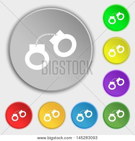 Handcuffs Icon Sign. Symbol On Eight Flat Buttons. Vector
