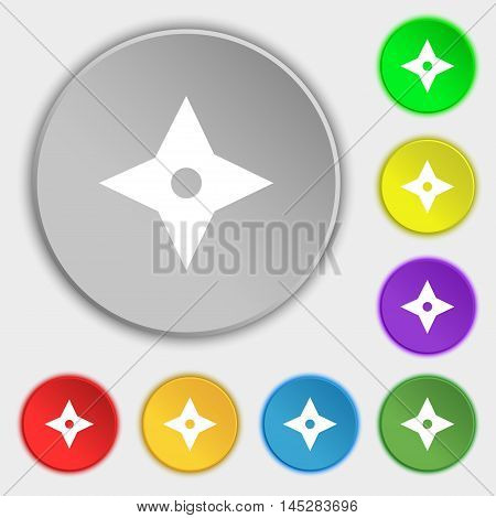 Ninja Star, Shurikens Icon Sign. Symbol On Eight Flat Buttons. Vector
