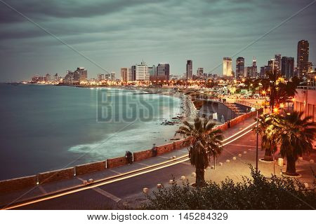 Tel Aviv, Israel. After sunset view from Jaffa. Vintage retro effect