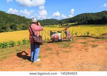 CHIANG MAI THAILAND - NOV 1 2014: Photographer take a photo vespa parked along the road at green terraced rice field in Mae Klang Luang Mae Chaem Chiang Mai Thailand