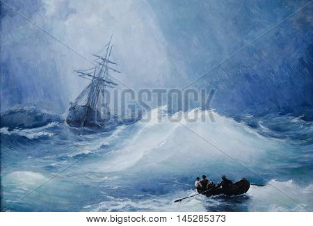 The picture painted with oil. Pictured sea during storm