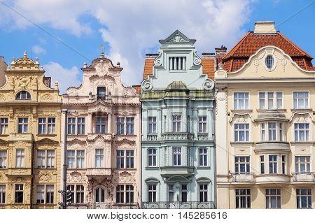 Colorful architecture of Square of the Republic in Pilsen. Pilsen Czech Republic