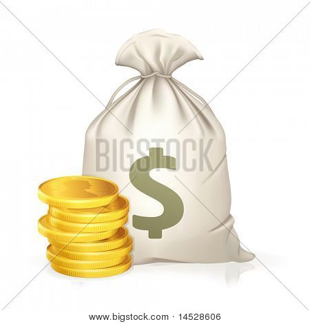Moneybag and coin, bitmap copy