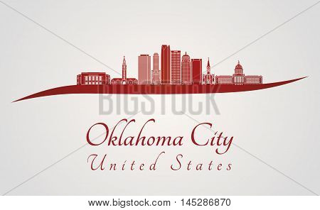 Oklahoma City skyline in red and gray background in editable vector file