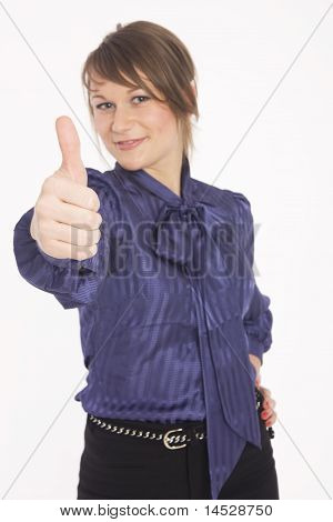 Business woman giving the thumbs-up sign