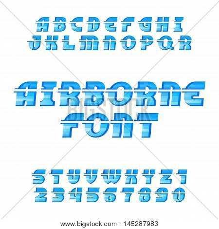 Airborne alphabet vector font. Oblique type letters and numbers on the white background.