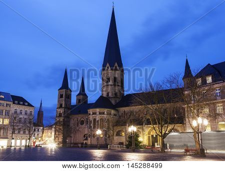 Bonner Munster at night. Bonn North Rhine-Westphalia Germany