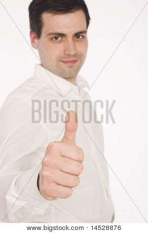 Business man giving the thumbs-up sign