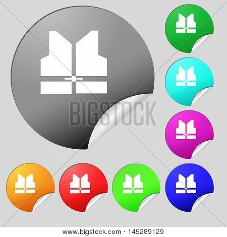Working Vest Icon Sign. Set Of Eight Multi Colored Round Buttons, Stickers. Vector