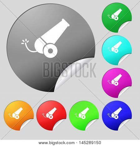 Cannon Icon Sign. Set Of Eight Multi Colored Round Buttons, Stickers. Vector