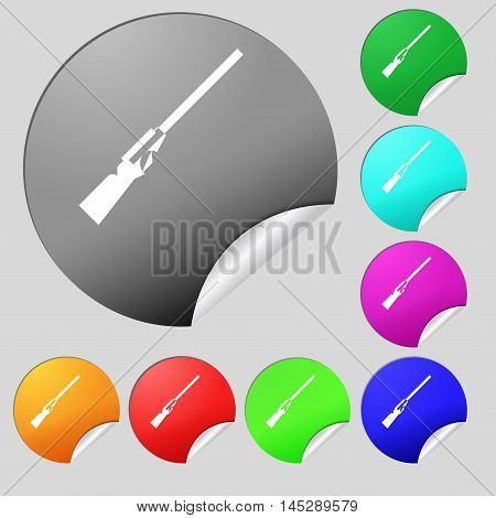 Shotgun Icon Sign. Set Of Eight Multi Colored Round Buttons, Stickers. Vector
